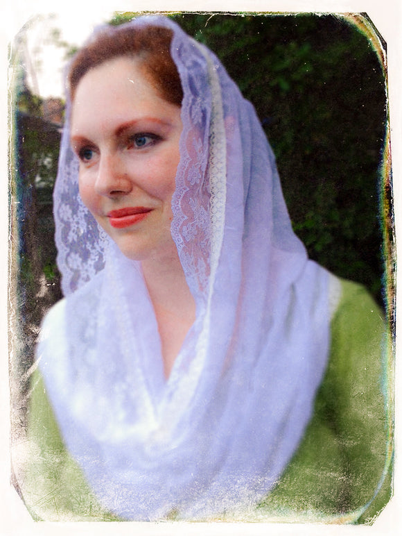 White Catholic Chapel Scarf, White Mantilla Veil, Catholic Gifts for Mom by BenedictaVeils - BenedictaVeils