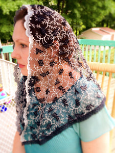 Catholic Church Black Veil, Black Chapel Veil, Church Mantilla by BenedictaBoutique - benedictaveils
