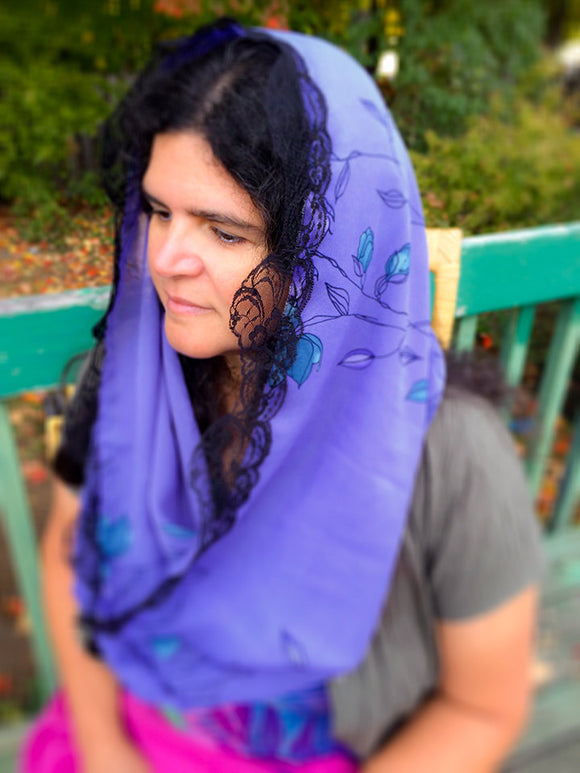 Purple Mantilla Veil, Purple Infinity Scarf for Mass, Catholic Chapel Veil, Lent or Advent Veil, Veil for Church, Purple Infinity Mantilla by BenedictaBoutique - benedictaveils