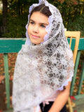 Church Scarf Gray, Gray Lace Catholic Veil, Chapel Scarf, Latin Mass Veil, Chapel Veil, Gray Mantilla Scarf, Church Veil, Church Mantilla by BenedictaBoutique - benedictaveils