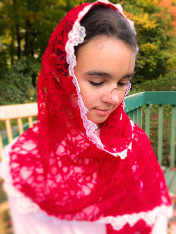 Church Scarf, Red Lace Catholic Veil, Chapel Scarf, Confirmation Veil, Scarf for Mass, Latin Mass Veil, Church Veil, Church Mantilla by BenedictaVeils - BenedictaVeils