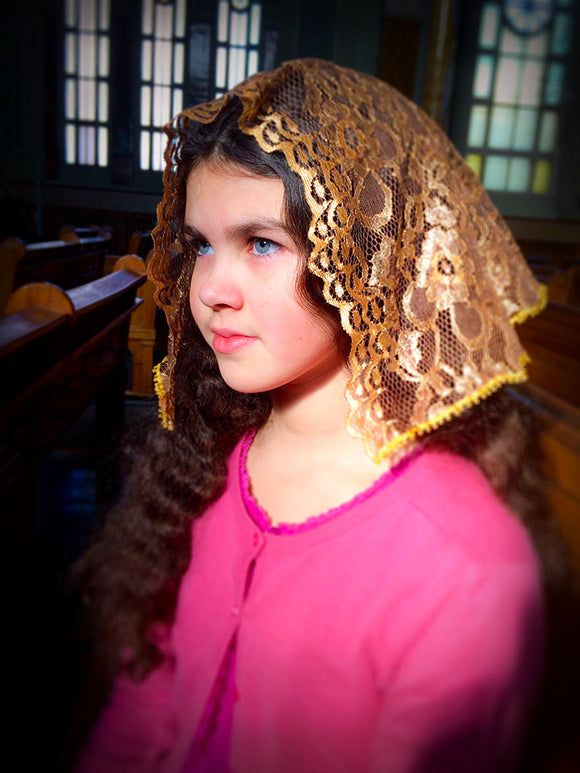 Small Golden Mantilla, Catholic Lace Veil, Church Mantilla, Mantilla, Veils for Girls, Chapel Mantilla, Latin Mass Mantilla, Chapel Veil by BenedictaBoutique - benedictaveils