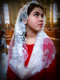 Holy First Communion Veil, White Infinity Veil for Girls by BenedictaBoutique - benedictaveils