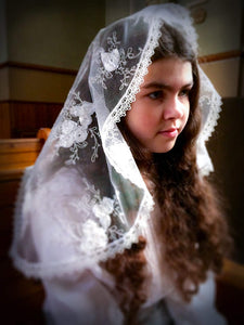 Veil First Communion, Embroidered Veil with Rosettes, White Mantilla Girl, Communion Veil, Mantilla for Girl,Chapel Veil,White Veil for Mass by BenedictaVeils - BenedictaVeils