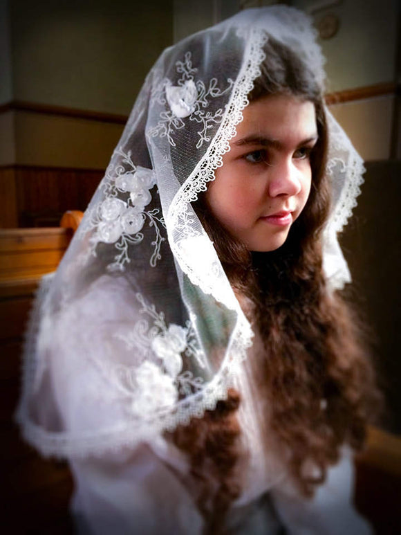 Veil First Communion, Embroidered Veil with Rosettes, White Mantilla Girl, Communion Veil, Mantilla for Girl,Chapel Veil,White Veil for Mass by BenedictaBoutique - benedictaveils