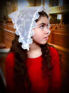 Small Mantilla, Small White Catholic Veil, Church Mantilla, White Mantilla, Veils for Girls, Chapel Mantilla,Latin Mass Mantilla,Chapel Veil by BenedictaBoutique - benedictaveils