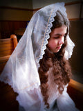First Communion Veil, White Mantilla Princess Veil, White Lace Mantilla by BenedictaBoutique - benedictaveils