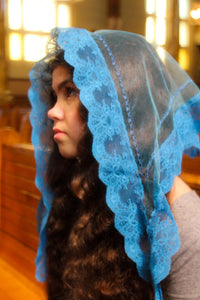 Blue Catholic Chapel Veil, Mantilla for Church, Catholic Gift for Her by BenedictaVeils - BenedictaVeils