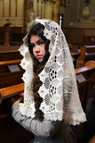 Ivory Chapel Veil, Ivory Catholic Mantilla, Mantilla Wrap, Veil for Mass, Sunday Mass Veil, Catholic Gift Her, Mantilla Veil,Veil for Church by BenedictaBoutique - benedictaveils