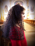 Catholic Mantilla in Black Lace, Black Catholic Chapel Veil by BenedictaBoutique - benedictaveils