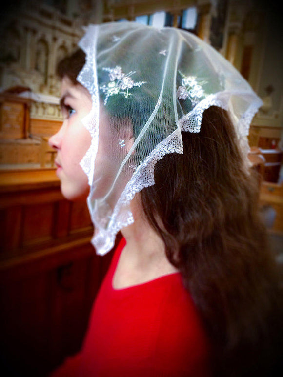 Traditional Church Lace Veil, Catholic Veil, Church Mantilla, Veils for Girls by BenedictaVeils - BenedictaVeils
