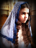 Church Veil, Blue Lace Mantilla for Mass, Mantilla Veil, Catholic Mantilla, Lace Veil for Mass, Catholic Veil, Church Mantilla, Mantilla by BenedictaBoutique - benedictaveils