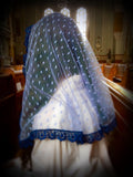 Church Veil, Blue Lace Mantilla for Mass, Mantilla Veil, Catholic Mantilla, Lace Veil for Mass, Catholic Veil, Church Mantilla, Mantilla by BenedictaVeils - BenedictaVeils