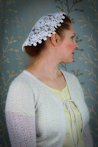 Chapel Cap, Lace Church Hat, Ivory Doily Veil by BenedictaVeils - BenedictaVeils