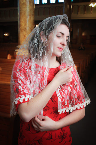 Lace Bridal Veil, Ivory Catholic Chapel Veil, Mantilla Weddings, Catholic Veil by BenedictaVeils - BenedictaVeils