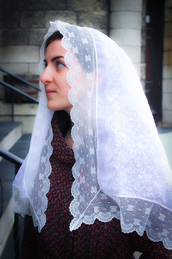 Catholic Chapel White Lace Veil, Ladies Chapel Veil, Catholic Gift for Wife by BenedictaVeils - BenedictaVeils