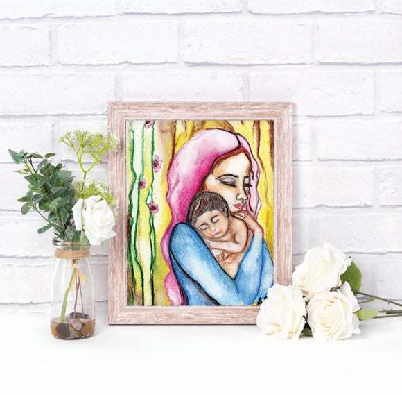 Blessed Virgin and Baby Jesus Printable Illustration, Devotional Catholic Wall Art - benedictaveils