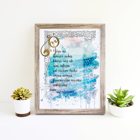 Fatima Prayer Printable, O my Jesus Rosary Prayer in Latin, Catholic Wall Art by BenedictaBoutique