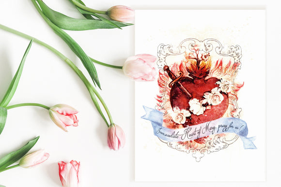 Immaculate Heart of Mary Art Print, Devotional Catholic Marian Wall Art by BenedictaBoutique