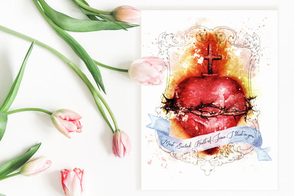 Most Sacred Heart of Jesus Art Print, Devotional Catholic Wall Art by BenedictaBoutique - benedictaveils