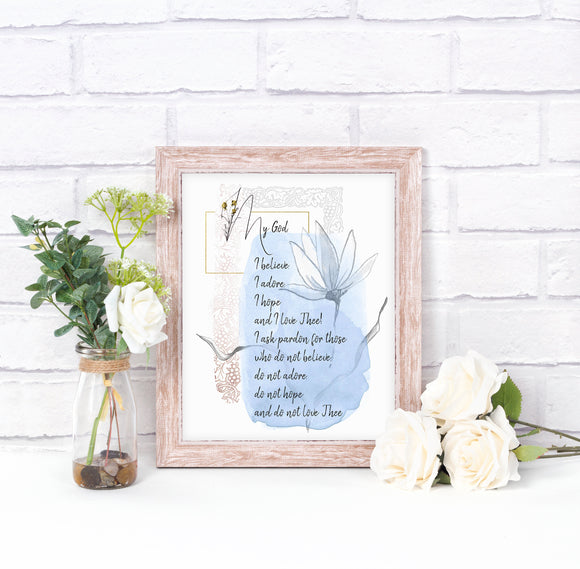 Fatima Prayers Printable, The Pardon Prayer, Catholic Wall Art - benedictaveils
