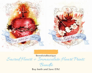 Most Sacred Heart of Jesus + Immaculate Heart of Mary Art Prints Bundle by BenedictaBoutique - benedictaveils