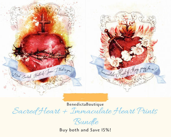 Most Sacred Heart of Jesus + Immaculate Heart of Mary Art Prints Bundle by BenedictaBoutique