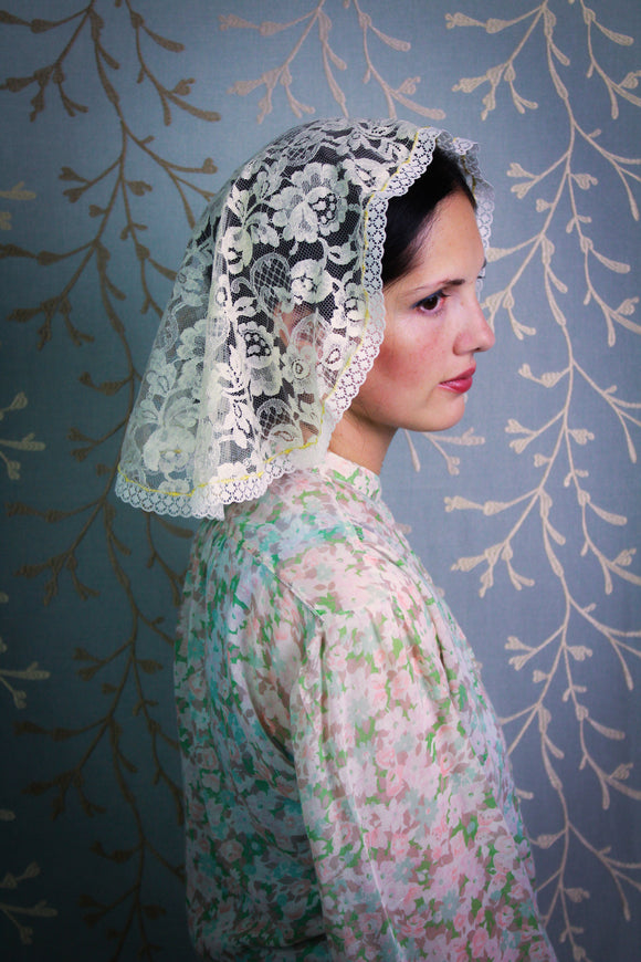 Cream Mantilla for Mass in Antique Aleçon Lace with Gold Embroidery in the Princess Style, Catholic Chapel Veil by BenedictaBoutique - benedictaveils