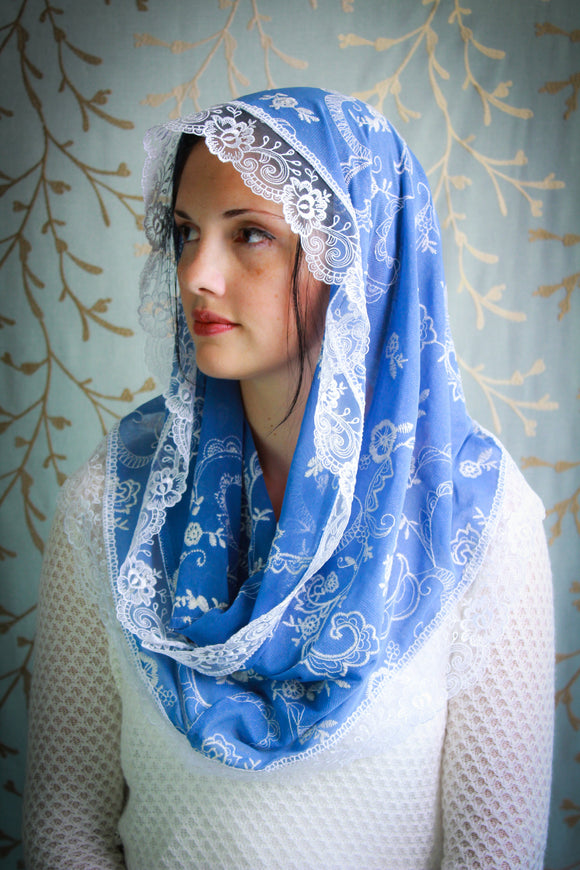 Light Sky Blue Embroidered Catholic Chapel Mantilla Veil in the Infinity Style, Latin Mass Veil by BenedictaBoutique