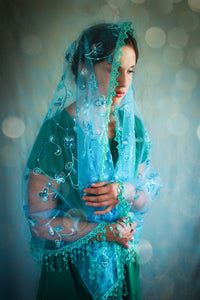 Embroidered Mantilla Wrap in Light Blue Teal, Shawl Chapel Veil for Sunday Mass by BenedictaBoutique - benedictaveils