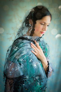 Black Embroidered Mantilla Wrap, Shawl Chapel Veil for Sunday Mass by BenedictaBoutique