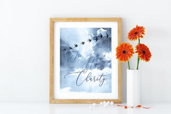 Faith-Hope-Charity Printable, Devotional Catholic Wall Art - benedictaveils