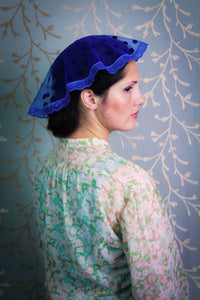 Small Oval Shaped Chapel Cap in Dotted Royal Blue Tulle, Doily Veil for Mass by BenedictaBoutique - benedictaveils