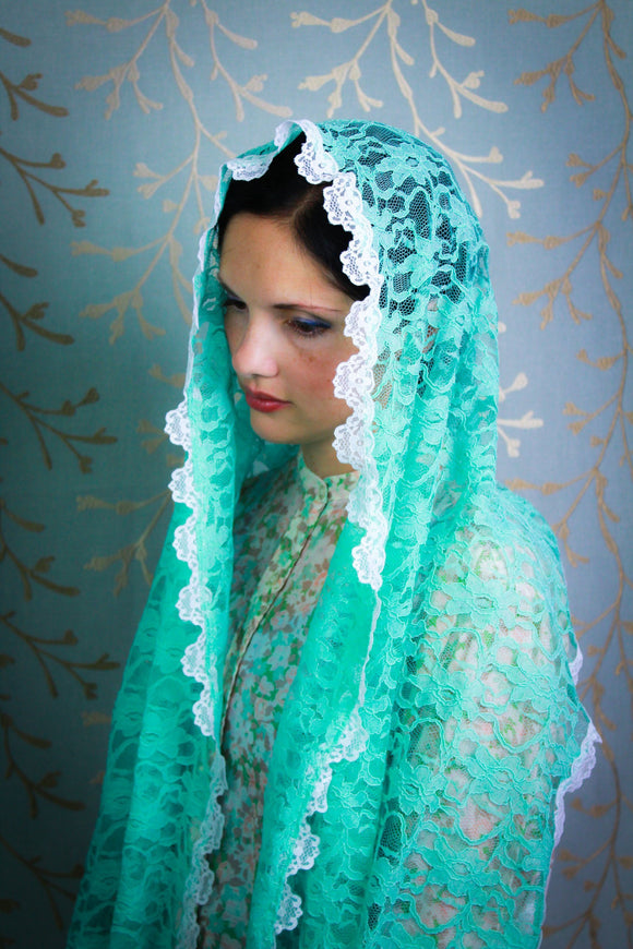 Light Green/Aquamarine Scarf Chapel Veil for Church, Modest Headcovering by BenedictaBoutique - benedictaveils
