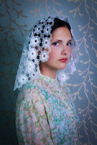 White Mantilla for Mass in Knitted Lace Fabric in the Princess Style by BenedictaBoutique - benedictaveils