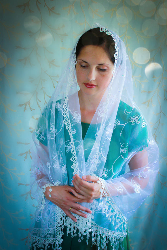 Crisp White Embroidered Mantilla Wrap, Shawl Chapel Veil for Sunday Mass by BenedictaBoutique - benedictaveils