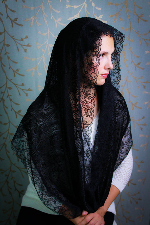 Black Infinity Chapel Veil, Catholic Church Mantilla Veil for Mass by BenedictaBoutique - benedictaveils