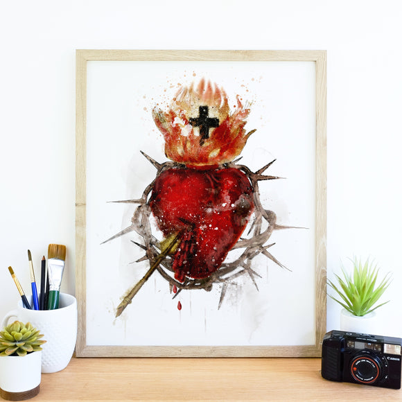 most sacred heart of jesus art illustration watercolor
