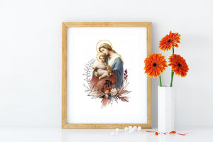 Blessed Virgin Mary with Child Jesus Printable Catholic Illustration Art Image, Marian Devotion Wall Art Print by BenedictaBoutique