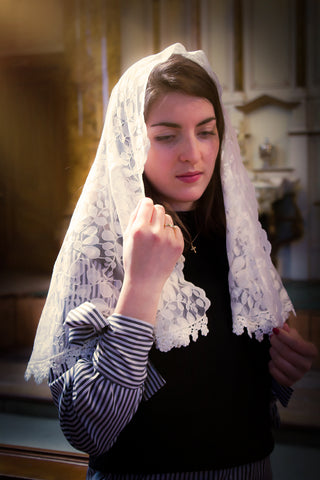 Ivory Lace Chapel Veil for Mass by BenedictaVeils - BenedictaVeils