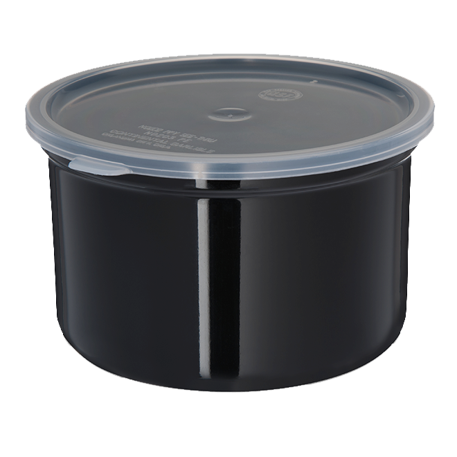 Carlisle 34303 Poly-Tuf™ Crock, 1.5 qt., translucent snap-on lid, black, NSF