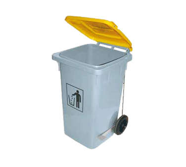 Araven 05404 Waste Bin On Wheels 26 Gal, Hi-Density Polyethylene Gray