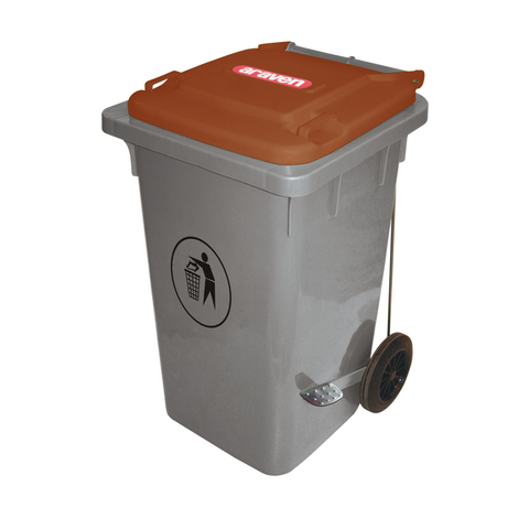 Araven 06404 Big Bin On Wheels 105.6 Qt., Hi-Density Polyethylene Brown