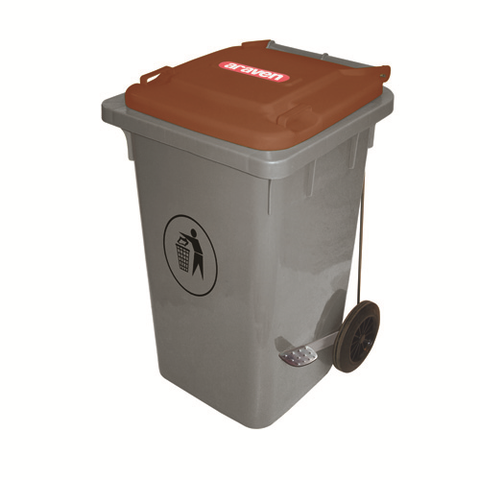 Araven 06405 Big Bin On Wheels 126.8 Qt., Hi-Density Polyethylene Brown