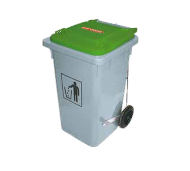 Araven 07404 Waste Bin On Wheels 26 Gal, Hi-Density Polyethylene Gray
