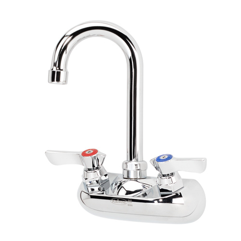 "Krowne 10-400L Commercial Series Faucet, splash-mounted, 4"" centers, 3-1/2"" gooseneck spout, chrome finish, NSF"