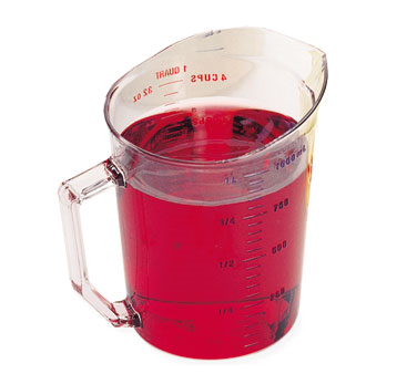 Cambro 100MCCW135 Camwear Measuring Cup, 1 qt., molded handle, dishwasher safe, polycarbonate, clear, NSF