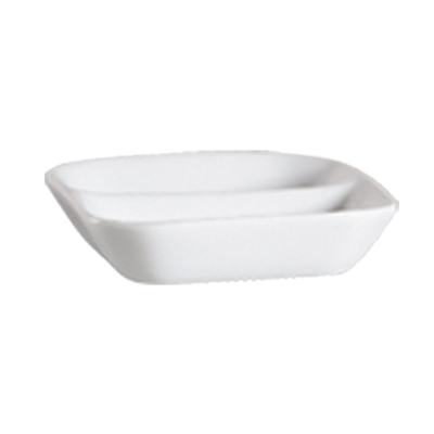 "CAC China 101-SQ2 Lincoln Divided Sauce Dish, 3""L x 3""W x 3/4""H, square, 2-compartments, 4dz Per Case"