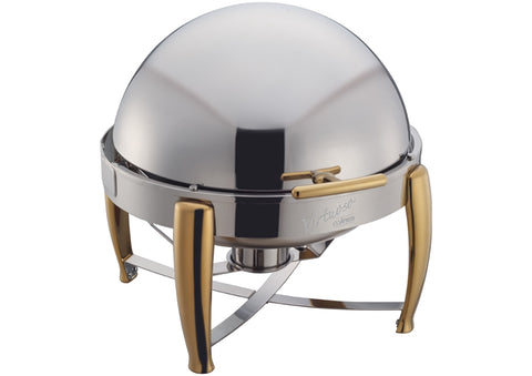 Winco 103A Virtuoso 6 Qt Round Chafer, Roll-Top, Extra Heavyweight, Gold Accent