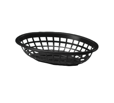 "TableCraft Products 1071BK Side Order Basket, 8"" x 5-3/8"" x 2"", oval, polyethylene, black, Made in USA"